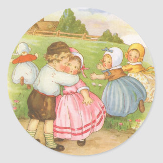 Vintage Georgie Porgie Mother Goose Nursery Rhyme Classic Round Sticker