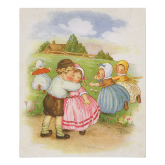 Vintage Georgie Porgie Mother Goose Nursery Rhyme Poster