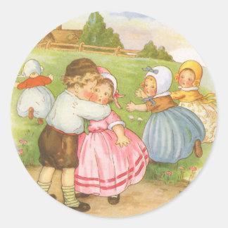 Vintage Georgie Porgie Mother Goose Nursery Rhyme Round Sticker