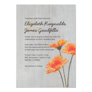 Vintage Gerbera Daisy Wedding Invitations