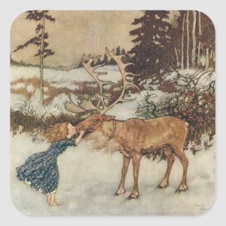 Vintage Gerda and the Reindeer by Edmund Dulac Square Sticker