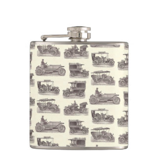 Vintage German Automobiles for Antique Car Club Hip Flask