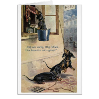 Vintage German Dachshunds Steal the Sausage, Card