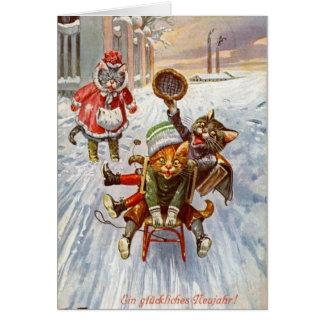 Vintage German - New Year Cats Sledding, Card