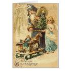 Vintage German Santa And Angel Christmas Card