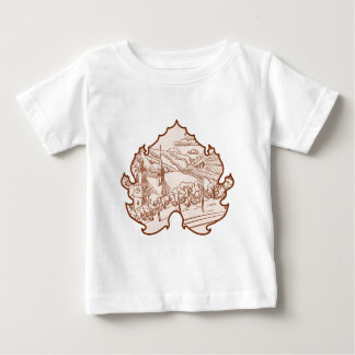 Vintage German Vineyard Landscape Sketch in Leaf Baby T-Shirt