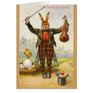 Vintage German Violinist Easter Greeting Card