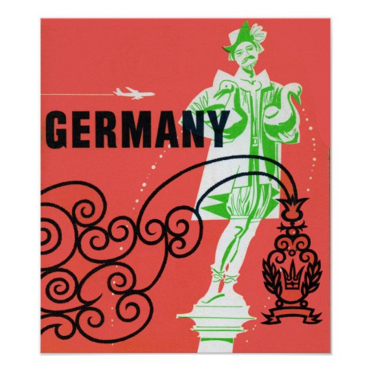Vintage Germany Airline Travel Poster