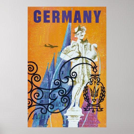 Vintage Germany Airline Travel Poster
