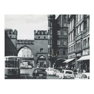 Vintage Germany, Munich, City trams and gateway Postcard
