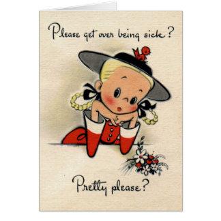 Vintage - Get Well Greeting Card