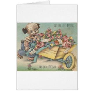 Vintage Get Well Dog With Wheelbarrow Card
