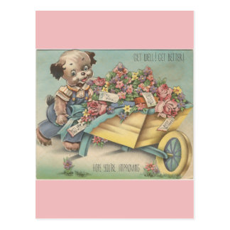 Vintage Get Well Dog With Wheelbarrow Postcard