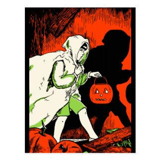 Vintage ghost Trick or Treater Postcard