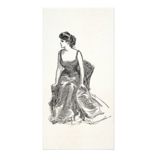 Vintage Gibson Girl Edwardian Retro Woman Portrait Custom Photo Card