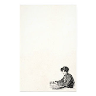 Vintage Gibson Girl Edwardian Woman Writing Letter Stationery Paper