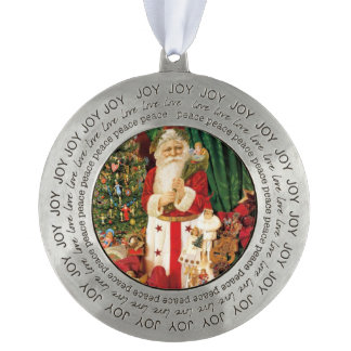 Vintage Gifts Santa Claus Round Pewter Decoration