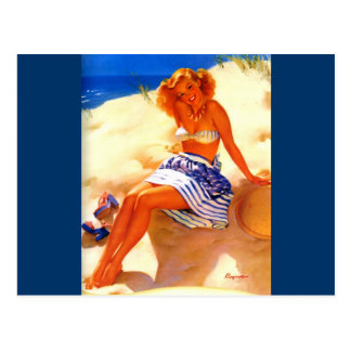 Vintage Gil Elvgren Beach Summer Pin up Girl Postcard