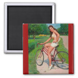 Vintage Gil Elvgren Bicycle Cyclist Pin up Girl Refrigerator Magnet