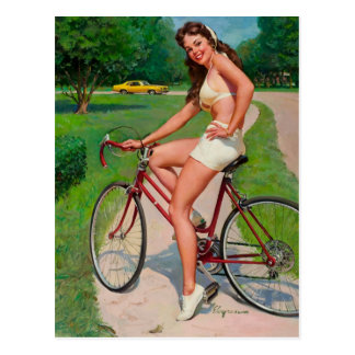 Vintage Gil Elvgren Bicycle Cyclist Pin up Girl Postcard