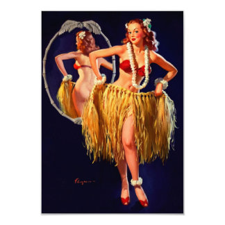 Vintage Gil Elvgren Hula Hawaiian Pin UP Girl Card