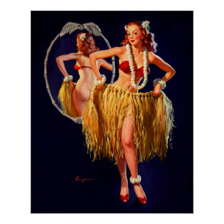 Vintage Gil Elvgren Hula Hawaiian Pin UP Girl Poster