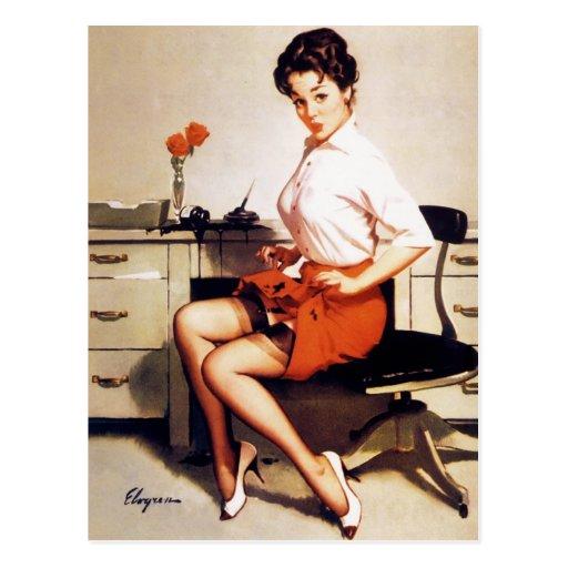 Vintage Gil Elvgren Office Corporate Pinup Girl Post Cards