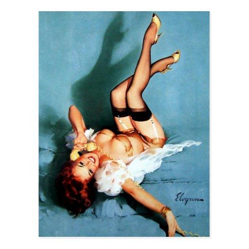 Vintage Gil Elvgren Pin UP Girl on The Phone Postcards