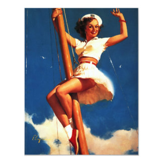 Vintage Gil Elvgren Sail Boat Sailing Pin UP Girl 11 Cm X 14 Cm Invitation Card
