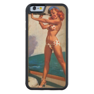 Vintage Gil Elvgren Sail Boat Sailing Pin UP Girl Carved® Maple iPhone 6 Bumper
