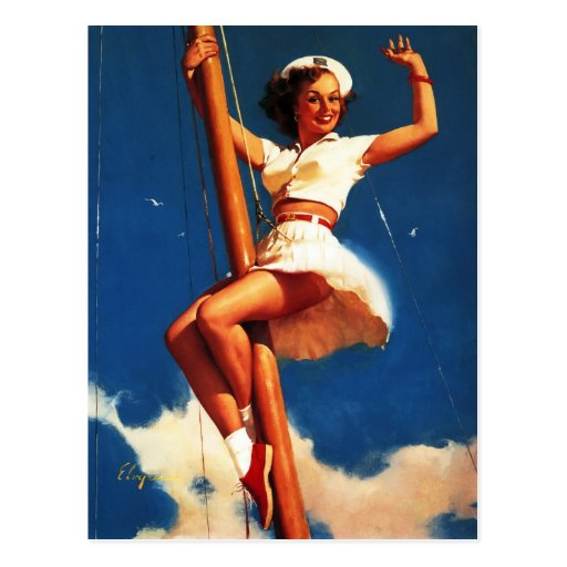 Vintage Gil Elvgren Sail Boat Sailing Pin UP Girl Post Cards