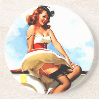 Vintage Gil Elvgren Sailor Nautical Pin up Girl Coaster