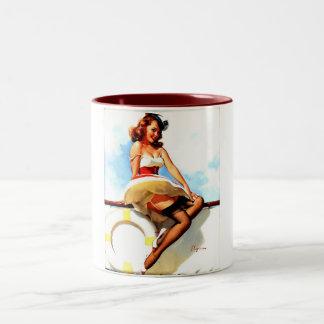 Vintage Gil Elvgren Sailor Nautical Pin up Girl Coffee Mug