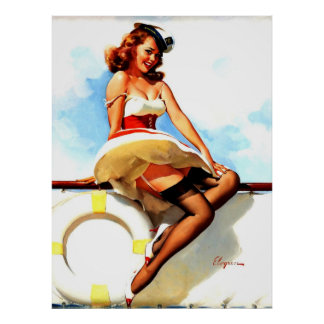 Vintage Gil Elvgren Sailor Nautical Pin up Girl Poster