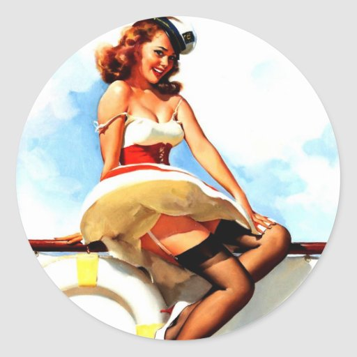 Vintage Gil Elvgren Sailor Nautical Pin up Girl Stickers