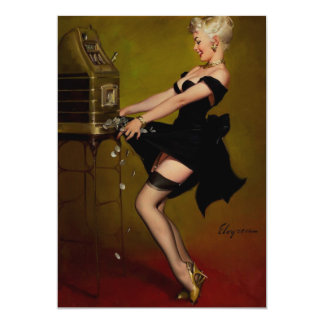 Vintage Gil Elvgren Slot Machine Pinup Girl Card