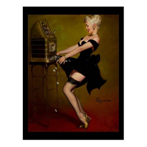 Vintage Gil Elvgren Slot Machine Pinup Girl Post Card