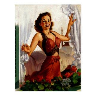 Vintage Gil Elvgren Spring Morning Pinup Girl Postcard