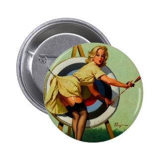 Vintage Gil Elvgren Target Archery Pinup Girl Button