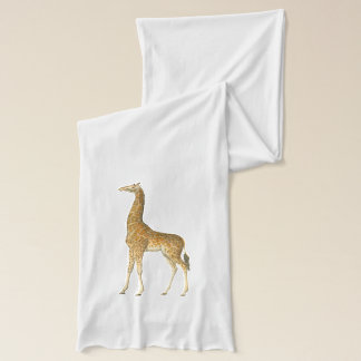 Vintage Giraffe Illustration Sheer Scarf