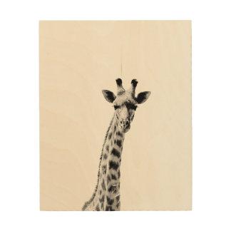 Vintage Giraffe Wood Poster