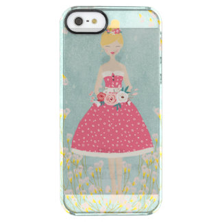 Vintage Girl and Flowers- Watercolor Summer Clear iPhone SE/5/5s Case