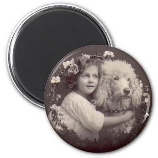 Vintage Girl and Poodle 6 Cm Round Magnet