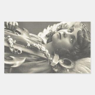 Vintage Girl Angel Symbol of Hope 1900s Anchor Rectangular Sticker