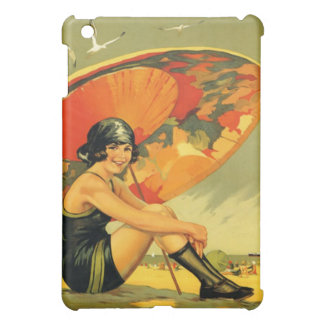 Vintage girl at beach poster iPad mini covers