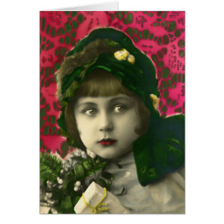 vintage girl at christmas greeting card