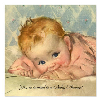 Vintage Girl Baby Shower Child on Blanket Announcements