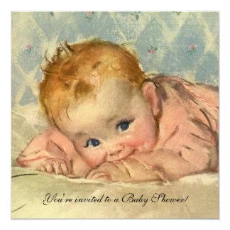 Vintage Girl Baby Shower, Child on Blanket 13 Cm X 13 Cm Square Invitation Card