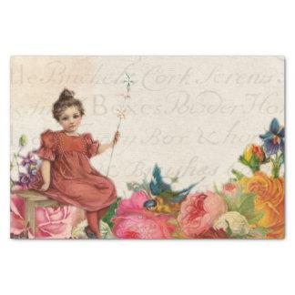 Vintage girl bird floral script ephemera tissue paper