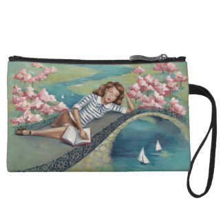 Vintage Girl & Book Mini Clutch (Wristlet) Wristlet Clutches